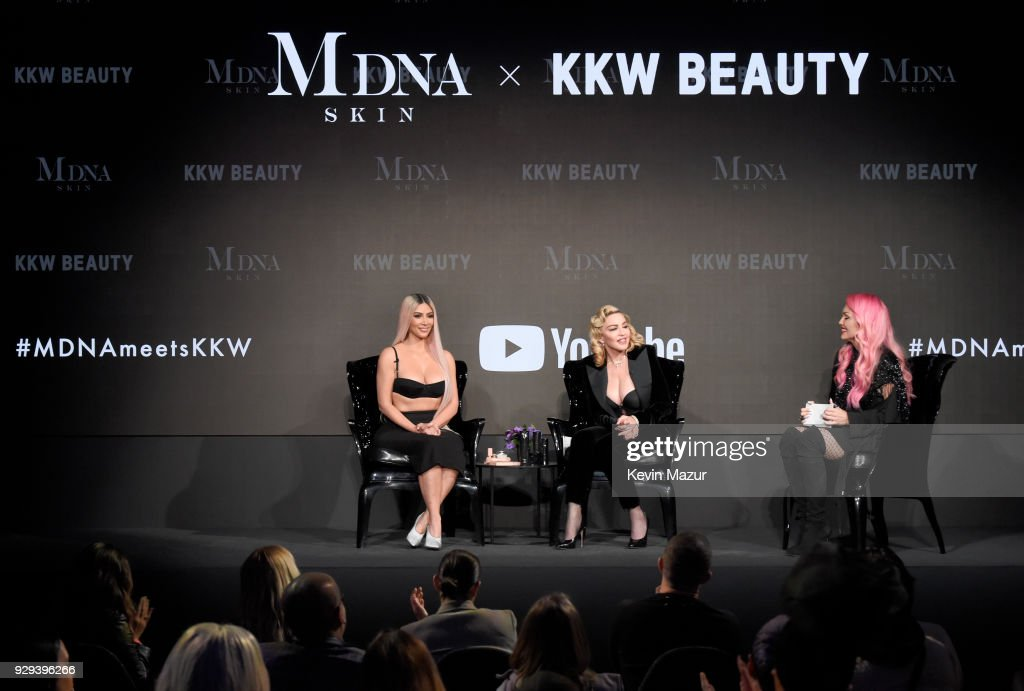 Kim Kardashian West, Madonna and Kandee Johnson speak onstage at MDNA SKIN hosts Madonna and Kim Kardashian West for a beauty conversation at YouTube Space LA on March 6, 2018 in Los Angeles, California.