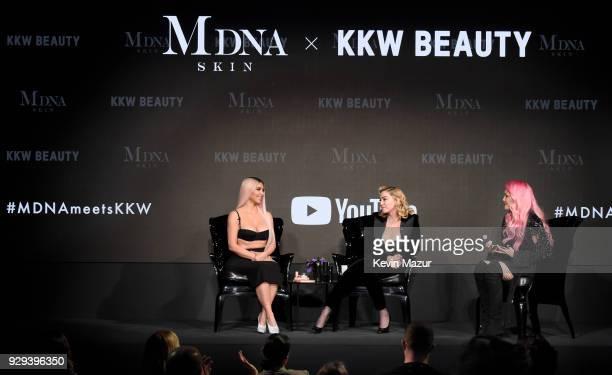 Kim Kardashian West Madonna and Kandee Johnson speak onstage at MDNA SKIN hosts Madonna and Kim Kardashian West for a beauty conversation at YouTube...