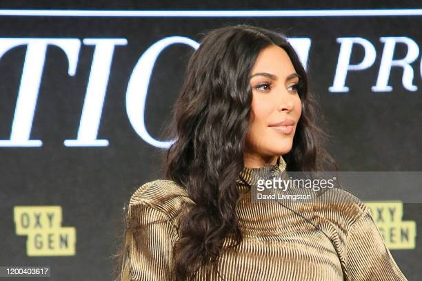 """Kim Kardashian West of """"The Justice Project"""" speaks onstage during the 2020 Winter TCA Tour Day 12 at The Langham Huntington, Pasadena on January 18,..."""