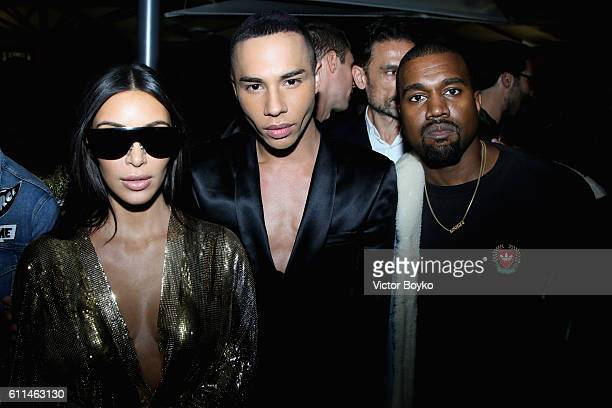 Kim Kardashian West Olivier Rousteing and Kanye West attend the Balmain aftershow party as part of the Paris Fashion Week Womenswear Spring/Summer...