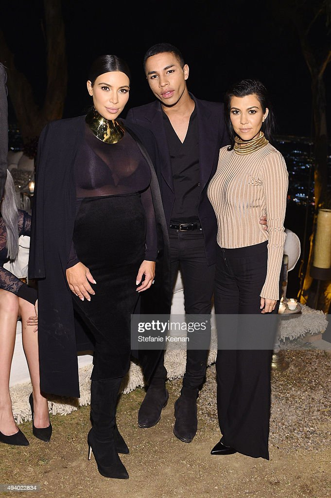 Kim Kardashian West, Olivier Rousteing and Kourtney Kardashian attend Olivier Rousteing & Beats Celebrate In Los Angeles at Private Residence on October 23, 2015 in Los Angeles, California.