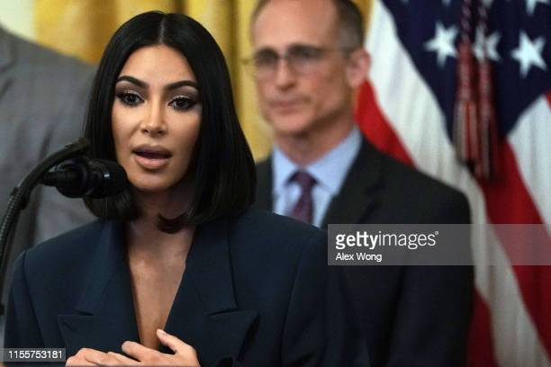 """Kim Kardashian West speaks during an East Room event on """"second chance hiring"""" June 13 2019 at the White House in Washington DC President Donald..."""