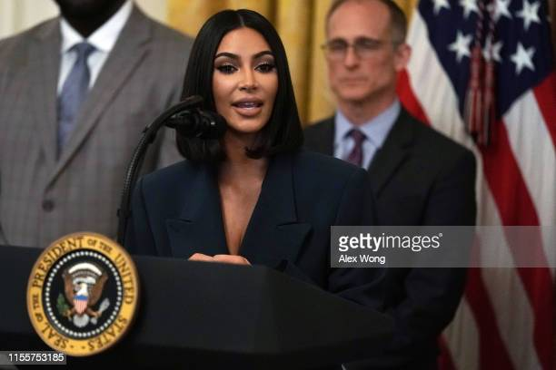 "Kim Kardashian West speaks during an East Room event on ""second chance hiring"" June 13, 2019 at the White House in Washington, DC. President Donald..."
