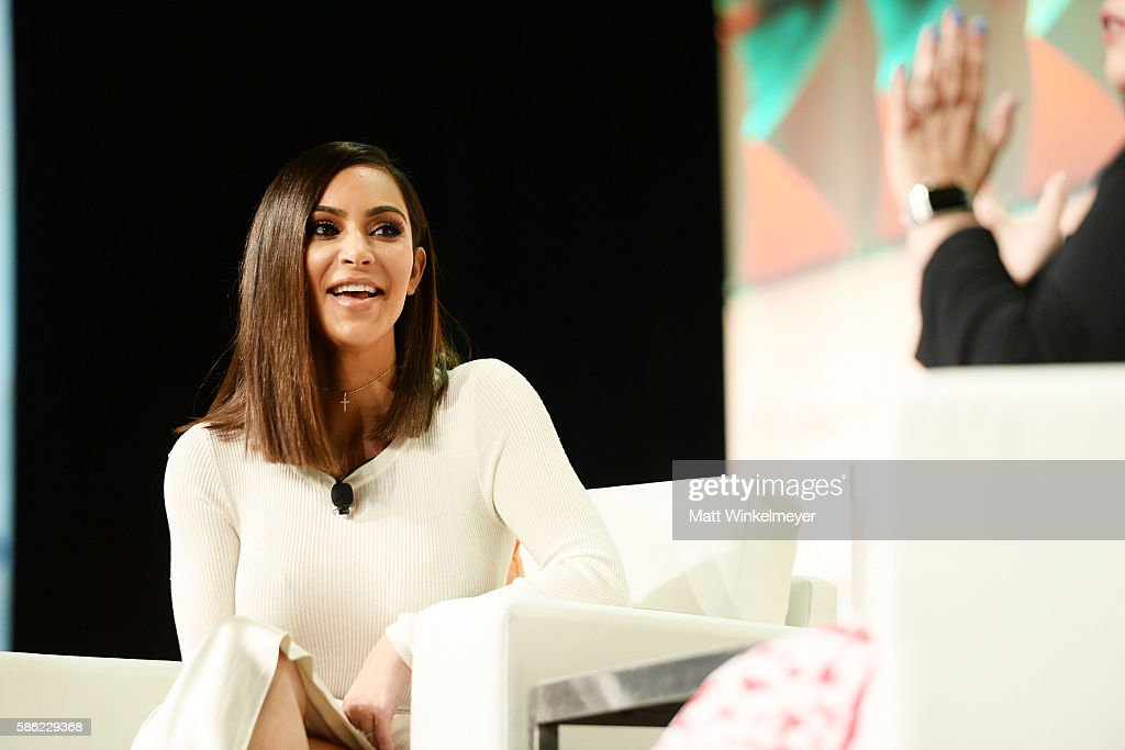 Kim Kardashian West speaks during the #BlogHer16 Experts Among Us conference at JW Marriott Los Angeles at JW Marriott Los Angeles at L.A. LIVE on August 5, 2016 in Los Angeles, California.