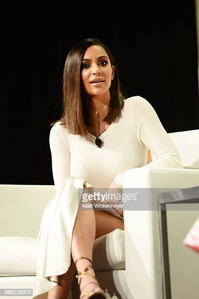 Kim Kardashian West speaks during the #BlogHer16 Experts Among Us conference at JW Marriott Los Angeles at JW Marriott Los Angeles at LA LIVE on...