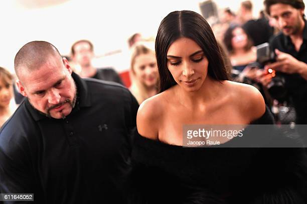 Kim Kardashian West with bodyguard Pascal Duvier attends Buro 24/7 Fashion Forward Initiative as part of Paris Fashion Week Womenswear Spring/Summer...