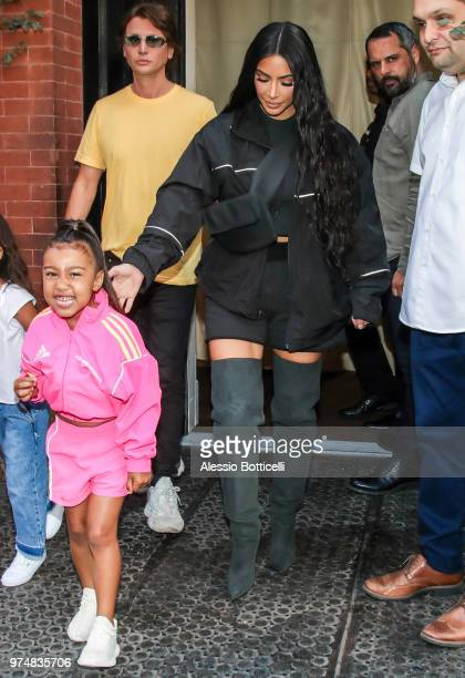 Kim Kardashian with her daughter North West and Jonathan Cheban are seen leaving Mercer Hotel after lunch at Mercer Kitchen on June 14 2018 in New...