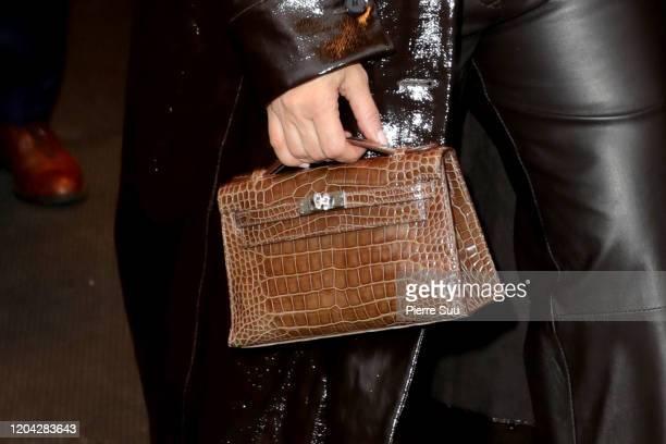 Kim Kardashian,handbag detail, is seen leaving her hotel on February 05, 2020 in New York City.