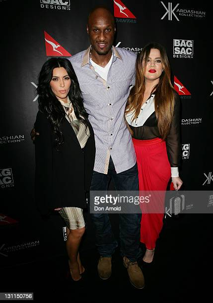 Kim KardashianKhloe Kardashian Odom and Lamar Odom arrive at the Kardashian Kollection Handbag launch on November 2 2011 in Sydney Australia The...