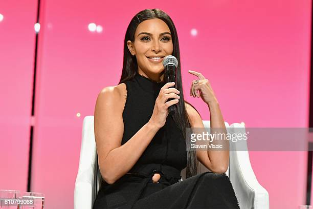 Kim Kardashian-West speaks at The Girls' Lounge dinner, giving visibility to women at Advertising Week 2016, at Pier 60 on September 27, 2016 in New...