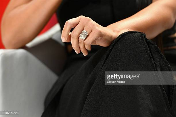 Kim KardashianWest wedding ring band detail attends The Girls' Lounge dinner giving visibility to women at Advertising Week 2016 at Pier 60 on...