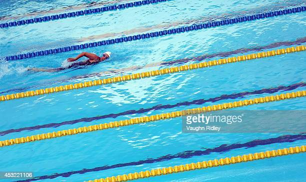 Kim Kearney of Canada competes in the Women's 200m Freestyle at Parc JeanDrapeau during the 15th FINA World Masters Championships on August 05 2014...