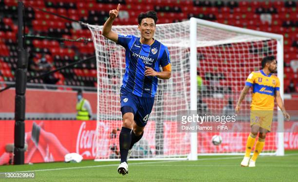 Kim Keehee of Ulsan Hyundai celebrates after scoring their team's first goal during the FIFA Club World Cup Qatar 2020 Second Round match between...