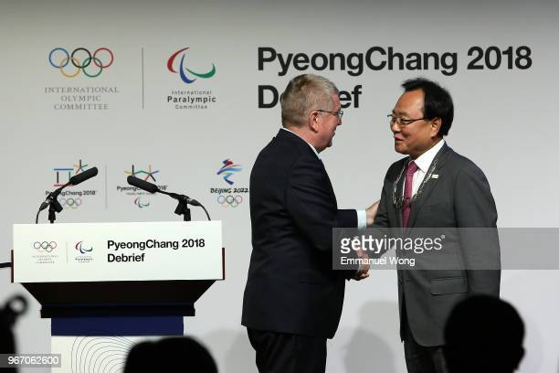 Kim Kihong the PyeongChang 2018 Vice President of Games Planning is awarded the Olympic Order by the IOC President Thomas Bach during the PyeongChang...