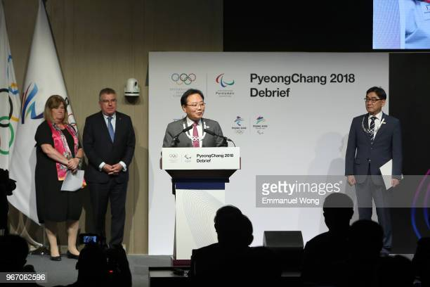 Kim Kihong the PyeongChang 2018 Vice President of Games Planning speaks after receiving the Olympic Order by the IOC President Thomas Bach during the...
