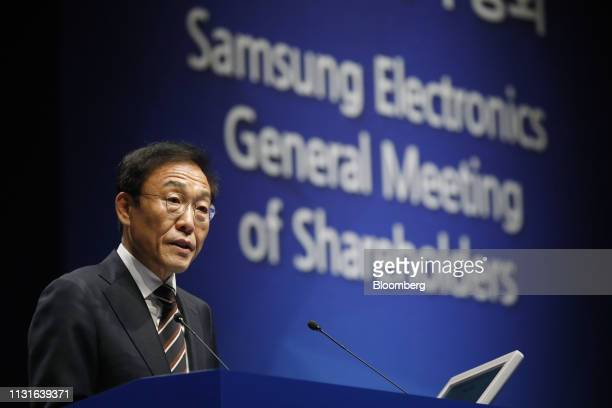 Kim Kinam president and cochief executive officer of Samsung Electronics Co speaks during the company's annual general meeting at the company's...
