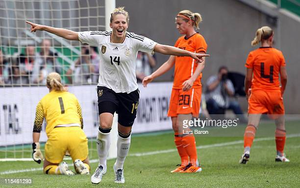 Kim Kulig of Germany celebrates after scoring her teams fourth goal during the Women's International friendly match between Germany and Netherlands...
