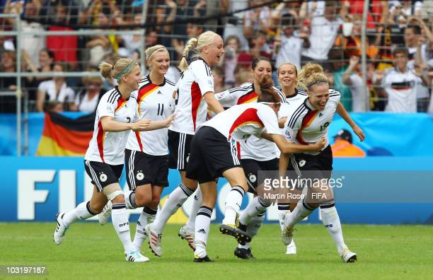 Kim Kulig of Germany celebrates after scoring her team's second goal during the 2010 FIFA Women's World Cup Final match between Germany and Nigeria...