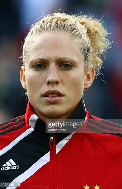 Kim Kulig of Germany poses prior to the Women's International Friendly match between Germnay and Canada at Rudolf Harbig stadium on September 15,...