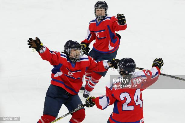 Kim KumBok of North Korea celebrate with her team mates after scoring a goal during the 2017 IIHF Ice Hockey Women's World Championship Div II Group...