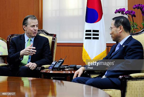 Kim KyouHyun South Korea's 1st Vice Minister of Foreign Affairs talks with US Special Representative for North Korea Affairs Glyn Davies during their...
