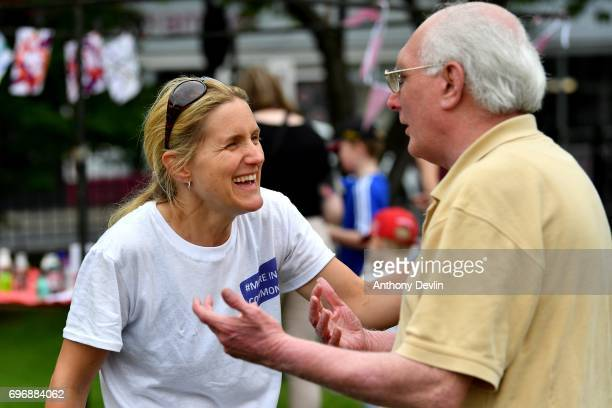 Kim Leadbeater sister of Jo Cox and founder of the MoreInCommon movement speaks with guests as she attends a Great Get Together event in on June 17...