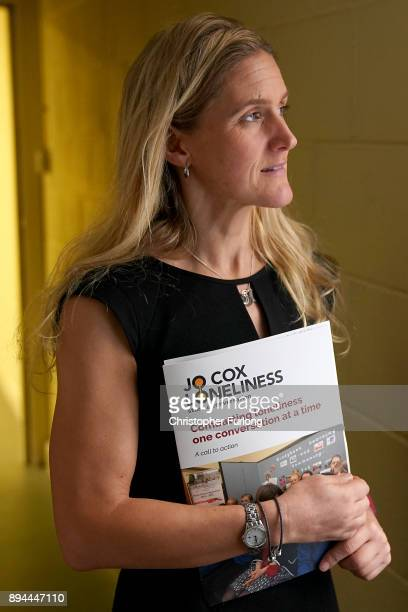 Kim Leadbeater the sister of the late Jo Cox MP poses with the report of the Jo Cox Commission on December 15 2017 in Batley England The commission...