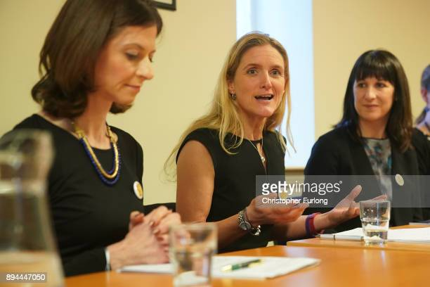 Kim Leadbeatter the sister of the late Jo Cox MP and MP's Rachel Reeves and Seema Kennedy launch the report of the Jo Cox Commission on December 15...