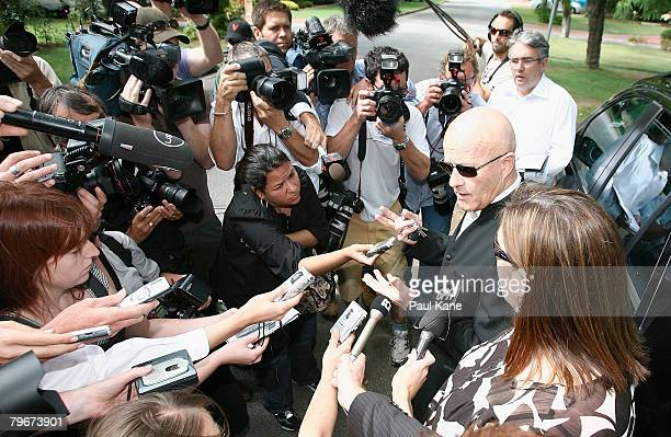 Kim Ledger reads an announcment to the media prior to his son Heath Ledger's funeral at Sally Bell's house in Applecross on February 9, 2007 in...