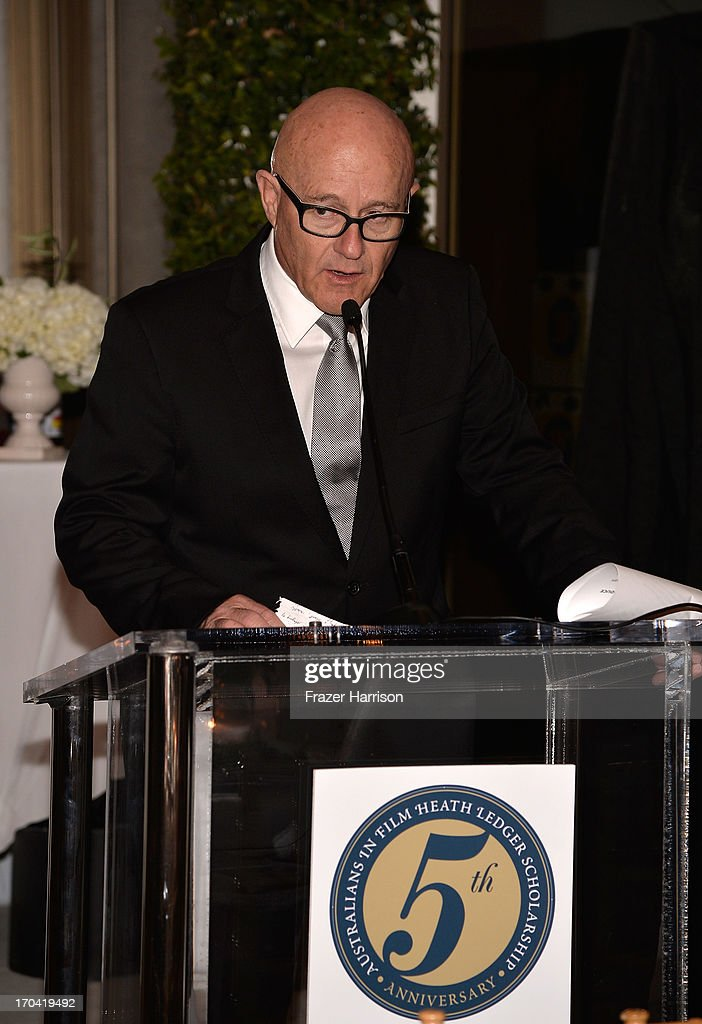 Kim Ledger speaks to the audience at the Australians In Film and Heath Ledger Scholarship Host 5th Anniversary Benefit Dinner on June 12, 2013 in Los Angeles, California.