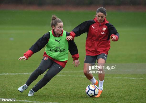 Kim Little and Danielle van de Donk of Arsenal during an Arsenal Women Training Session at London Colney on March 12, 2018 in St Albans, England.