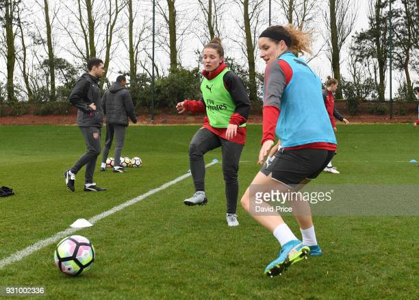 Kim Little and Dominique Janssen of Arsenal during an Arsenal Women Training Session at London Colney on March 12 2018 in St Albans England