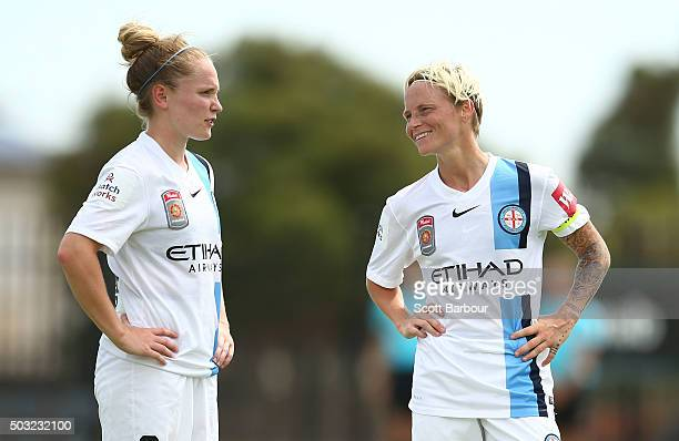 Kim Little and Jessica Fishlock of City FC talk during the round 12 WLeague match between Melbourne City FC and the Western Sydney Wanderers at...