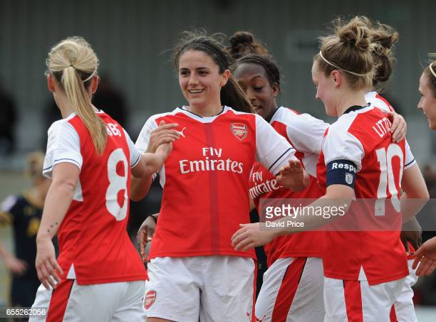 Kim Little celebrates scoring a goal for Arsenal with Danielle van de Donk during the match between Arsenal Ladies and Tottenham Hotspur Ladies on...