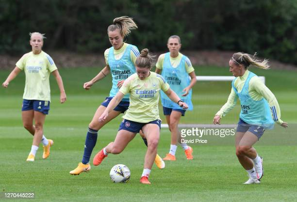 Kim Little, Jill Roord and Jordan Nobbs of Arsenal during the Arsenal Women's Training Session at London Colney on September 03, 2020 in St Albans,...