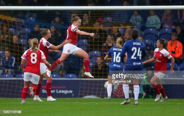 Kim Little of Arsenal celebrates after she scores her teams first goal FA WSL match between Chelsea Women and Arsenal at The Cherry Red Records...