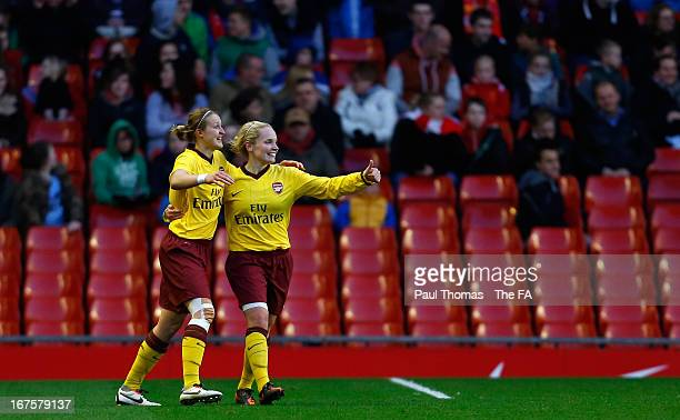 Kim Little of Arsenal celebrates her goal with team mate Ellen White during the Womens FA Cup Semi Final match between Liverpool Ladies FC and...