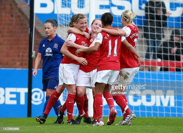 Kim Little of Arsenal celebrates her goal with team mates during the FA Women's Super League match between Arsenal Ladies FC and Everton Ladies FC at...