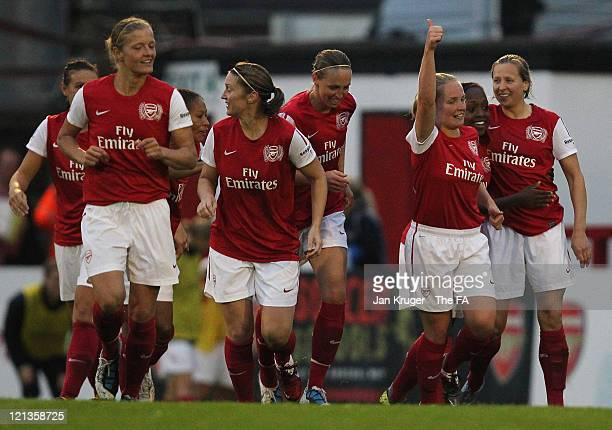 Kim Little of Arsenal celebrates her goal with team-mates during the FA Women's Super League match between Arsenal Ladies FC and Everton Ladies FC at...