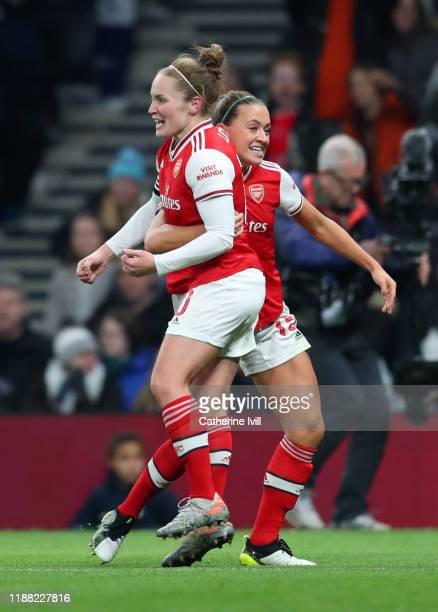 Kim Little of Arsenal celebrates scoring her teams first goal with Katie McCabe of Arsenal during the Barclays FA Women's Super League match between...