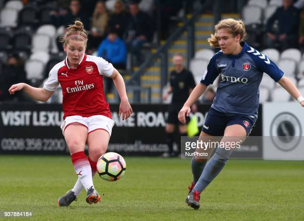 Kim Little of Arsenal during SSE Women's FA Cup quarter_final match between Arsenal against Charlton Athletic Women at Meadow Park Borehamwood FC on...