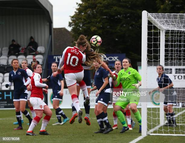 Kim Little of Arsenal during The FA Women's Cup Fifth Round match between Arsenal against Millwall Lionesses at Meadow Park Borehamwood FC on 18 Feb...