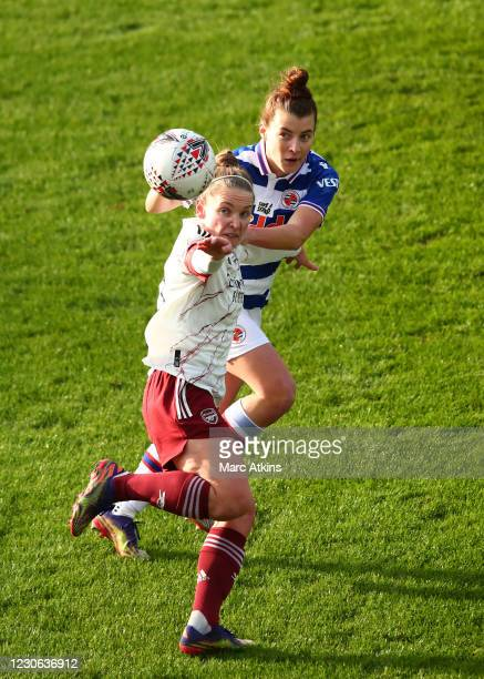 Kim Little of Arsenal in action with Angharad James of Reading during the Barclays FA Women's Super League match between Reading Women and Arsenal...