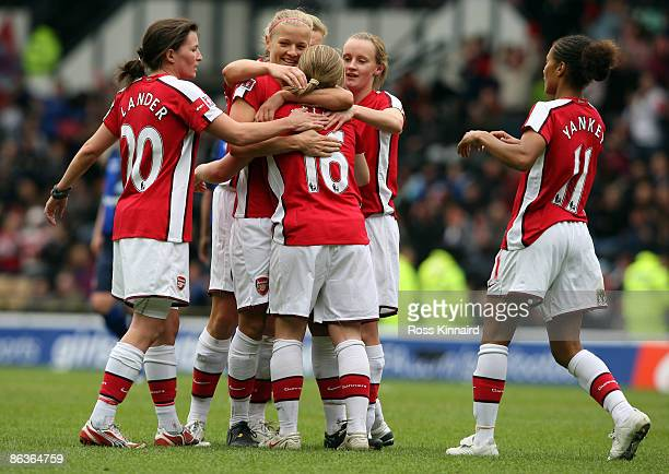 Kim Little of Arsenal is congratulated by team mates after scoring the second goal for their team during the FA Women's Cup Final Sponsored by EON...
