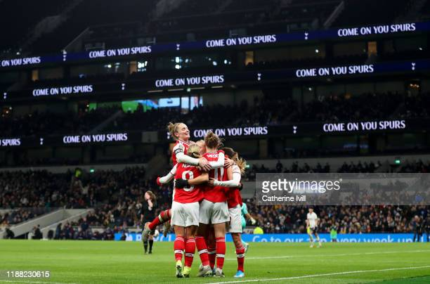Kim Little of Arsenal jumps up as the team celebrate Vivianne Miedema of Arsenal scoring her sides second goal during the Barclays FA Women's Super...
