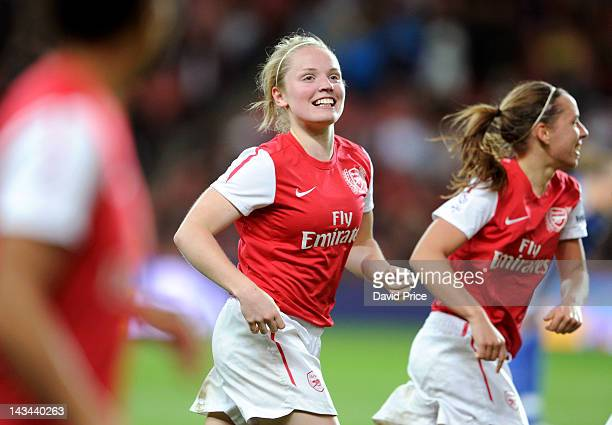 Kim Little of Arsenal Ladies celebrates scoring the 1st Arsenal goal during the match between Arsenal Ladies and Chelsea at Emirates Stadium on April...