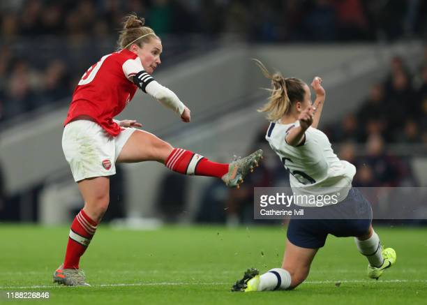 Kim Little of Arsenal scores her teams first goal during the Barclays FA Women's Super League match between Tottenham Hotspur and Arsenal at...