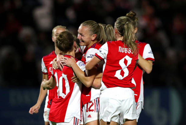 Kim Little of Arsenal Women celebrates scoring her teams first goal during the UEFA Women's Champions League group C match between Arsenal WFC and...