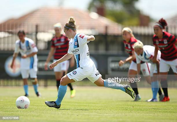 Kim Little of City FC kicks a goal from the penalty spot and scores the second goal during the round 12 WLeague match between Melbourne City FC and...