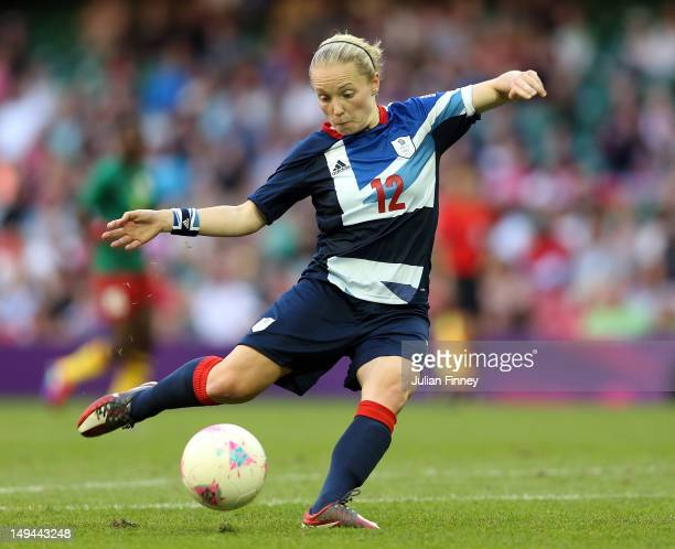 Kim Little of Great Britain shoots at goal during the Women's Football first round Group E Match between Great Britain and Cameroon on Day 1 of the...